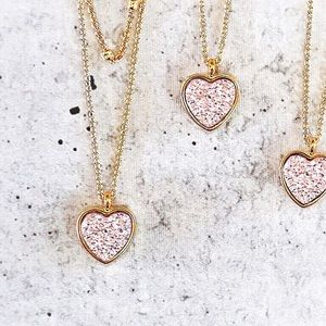 Rose Gold Heart Pendant Layered Dainty Necklace
